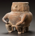 Pre-Columbian:Ceramics, A COLOMBIAN VESSEL IN THE FORM OF A CORPULENT FIGURE. c. 900 - 1200AD...