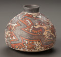Pre-Columbian:Ceramics, A NAZCA PAINTED BOTTLE. c. 500 - 700 AD...