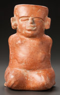 Pre-Columbian:Ceramics, A LARGE MOCHE VESSEL IN THE FORM OF A KNEELING FIGURE. c. 600 - 800AD...