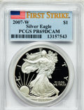 Modern Bullion Coins, 2007-W $1 Silver Eagle First Strike PR69 PCGS. PCGS Population(6482/918). NGC Census: (15132/16280)....