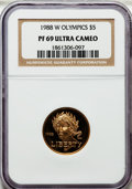 Modern Issues: , 1988-W G$5 Olympic Gold Five Dollar PR69 Ultra Cameo NGC. NGCCensus: (5829/3511). PCGS Population (8548/437). Mintage: 281...
