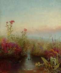 JEROME THOMPSON (American, 1814-1886) Riverbank in Bloom, 1865 Oil on canvas 18 x 15 inches (45.7