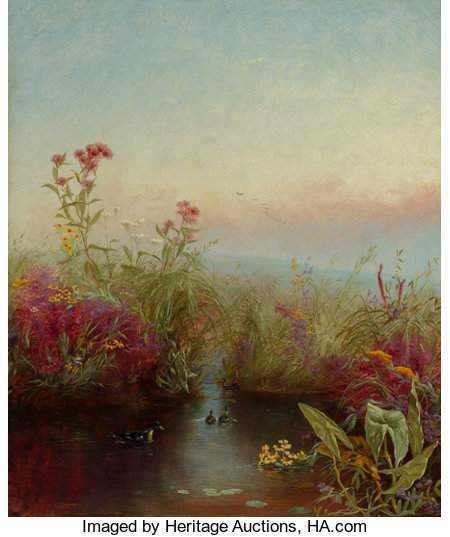 JEROME THOMPSON (American, 1814-1886)Riverbank in Bloom, 1865Oil on canvas18 x 15 inches (45.7 x 38.1 cm)Signed ...