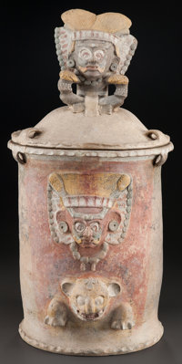 A LARGE LIDDED MAYA URN WITH IMAGES c. 600 - 900 AD