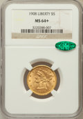 Liberty Half Eagles, 1908 $5 MS64+ NGC. CAC. NGC Census: (937/321). PCGS Population(883/229). Mintage: 421,874. Numismedia Wsl. Price for probl...