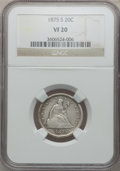 Twenty Cent Pieces: , 1875-S 20C VF20 NGC. NGC Census: (44/2301). PCGS Population(83/2900). Mintage: 1,155,000. Numismedia Wsl. Price for proble...