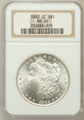 Morgan Dollars: , 1882-CC $1 MS65 NGC. NGC Census: (2616/730). PCGS Population(4848/1210). Mintage: 1,133,000. Numismedia Wsl. Price for pro...