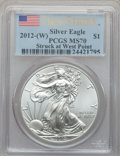 Modern Bullion Coins, 2012(-W) $1 One Ounce Silver Eagle, Struck at West Point Mint,First Strike MS70 PCGS. PCGS Population (12938). NGC Census:...