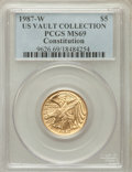 Modern Issues, 1987-W G$5 Constitution Gold Five Dollar MS69 PCGS. Ex: US VaultCollection. PCGS Population (6480/1219). NGC Census: (2419...