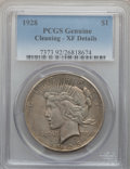 Peace Dollars: , 1928 $1 -- Cleaned -- PCGS Genuine. XF Details. Mintage: 360,649....