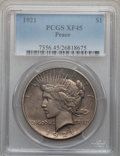Peace Dollars: , 1921 $1 XF45 PCGS. PCGS Population (356/13308). NGC Census:(255/11391). Mintage: 1,006,473. Numismedia Wsl. Price for prob...
