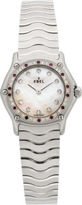 Timepieces:Wristwatch, Ebel New/Old Stock Diamond & Ruby Lady's Steel Wristwatch. ...