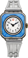 Timepieces:Wristwatch, Swiss Sterling & Enamel Wristwatch, circa 1915. ...