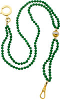 Timepieces:Watch Chains & Fobs, Jade Bead Watch Chain With Gold Fittings & Diamonds. ...