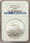 Modern Bullion Coins, 2007 $1 Silver American Eagle, Early Releases MS69 NGC. NGC Census:(0/0). PCGS Population (14162/84)....