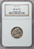 Jefferson Nickels: , 1941 5C MS66 5 Full Steps NGC. NGC Census: (63/12). PCGS Population(226/17). Numismedia Wsl. Price for problem free NGC/P...