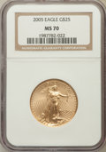 Modern Bullion Coins, 2005 G$25 Half-Ounce Gold MS70 NGC. NGC Census: (3739). PCGSPopulation (373). Numismedia Wsl. Price for problem free NGC/...