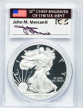 Modern Bullion Coins, 2012-W $1 One-Ounce Silver American Eagle, Insert autographed ByJohn M. Mercanti, 12th Chief Engraver of the U.S. Mint, Firs...