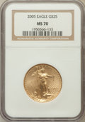 Modern Bullion Coins, 2005 G$25 Half-Ounce Gold Eagle MS70 NGC. NGC Census: (3739). PCGSPopulation (373). Numismedia Wsl. Price for problem fre...