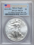Modern Bullion Coins, 2011-(W) $1 Silver Eagle, First Strike MS70 PCGS. US Mint-SealedBox#4....