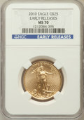 Modern Bullion Coins, 2010 G$25 Early Releases MS70 NGC. NGC Census: (1980). PCGSPopulation (462). ...