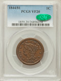 Large Cents: , 1844/81 1C VF20 PCGS. CAC. PCGS Population (8/42). NGC Census:(0/23). Mintage: 2,398,752. Numismedia Wsl. Price for proble...