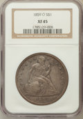Seated Dollars: , 1859-O $1 XF45 NGC. NGC Census: (25/443). PCGS Population (70/602).Mintage: 360,000. Numismedia Wsl. Price for problem fre...
