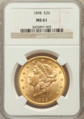 Liberty Double Eagles: , 1898 $20 MS61 NGC. NGC Census: (513/813). PCGS Population(381/692). Mintage: 170,300. Numismedia Wsl. Price for problemfr...