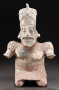 Pre-Columbian:Ceramics, A VERY LARGE JALISCO SEATED FEMALE FIGURE. c. 200 BC - 200 AD...