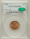 Lincoln Cents: , 1913 1C MS65 Red PCGS. CAC. PCGS Population (151/69). NGC Census:(71/18). Mintage: 76,532,352. Numismedia Wsl. Price for p...
