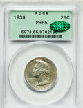 Proof Washington Quarters: , 1939 25C PR65 PCGS. CAC. PCGS Population (621/670). NGC Census:(340/580). Mintage: 8,795. Numismedia Wsl. Price for proble...