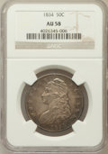 Bust Half Dollars: , 1834 50C Small Date, Small Letters AU58 NGC. Mintage: 6,412,004....