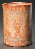 Pre-Columbian:Ceramics, A MAYA POLYCHROME VESSEL WITH FIGURES. c. 600 - 800 AD...