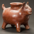 Pre-Columbian:Ceramics, A COLIMA VESSEL IN THE FORM OF A WELL FED DOG. c. 200 BC - 200AD...