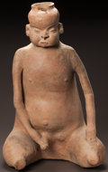 Pre-Columbian:Ceramics, A VERY LARGE COLIMA SEATED MALE FIGURE. c. 200 BC - 200 AD...