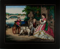 Books:Prints & Leaves, Striking Hand-Colored Print Depicting Mother and Children withCarriage and Pet Goat. [Ca. 1880]. Vivid colors with minor ed...