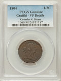 Half Cents, 1804 1/2 C Crosslet 4, Stems -- Graffiti -- Genuine PCGS. VFDetails. PCGS Population (17/263). Numisme...