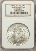 Morgan Dollars, 1889 $1 Double Die Obverse Ear MS62 NGC. Vam-16, Hot-50. NGCCensus: (4338/31382). PCGS Population (4296/25314). Mintage: 2...