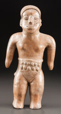 Pre-Columbian:Ceramics, A TALL STANDING COLIMA FIGURE WITH TAN SLIP. c. 200 BC - 200 AD...
