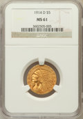 Indian Half Eagles: , 1914-D $5 MS61 NGC. NGC Census: (644/1055). PCGS Population(251/1010). Mintage: 247,000. Numismedia Wsl. Price for problem...