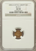 California Fractional Gold, 1855/4 $1 Liberty Octagonal 1 Dollar, BG-511, High R.4, AU58NGC....