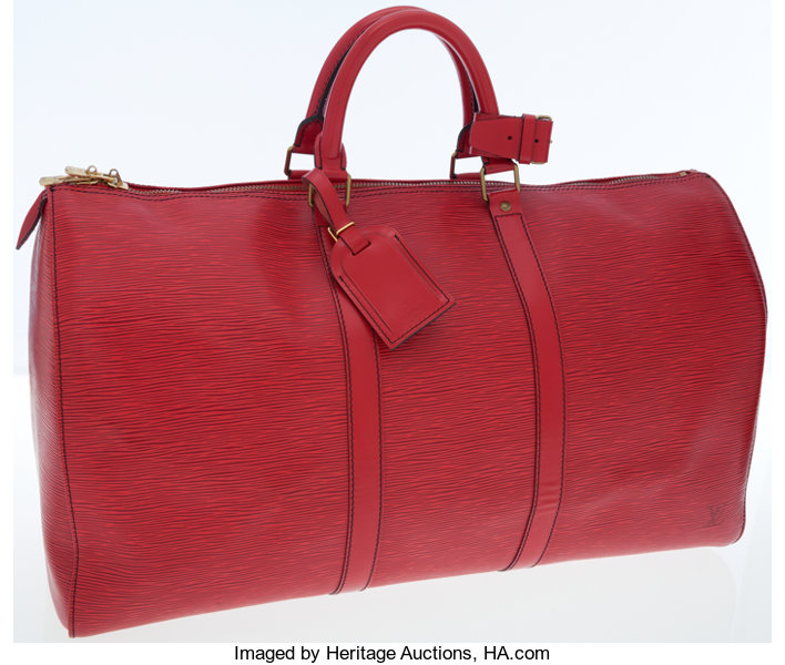 91439c70c5699 Louis Vuitton Red Epi Leather Keepall 50 Weekender Overnight
