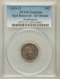 Seated Dimes, 1839-O 10C No Drapery -- Spot Removed -- Genuine PCGS. XF Details.NGC Census: (3/63). PCGS Population (12/58). Mintage: 1,...
