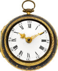 Timepieces:Pocket (pre 1900) , C. Clayton London Early Pair Cased Verge, circa 1780. ...