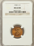 Indian Cents: , 1908-S 1C MS64 Red and Brown NGC. NGC Census: (237/132). PCGSPopulation (384/102). Mintage: 1,115,000. Numismedia Wsl. Pri...
