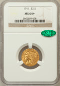 Indian Quarter Eagles, 1911 $2 1/2 MS64+ NGC. CAC....