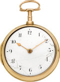 Timepieces:Pocket (pre 1900) , William Wall & Son Dublin 18k Gold Pair Cased Verge Fusee, circa 1805. ...