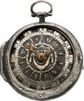Timepieces:Pocket (pre 1900) , James Russet London Early Repousse Verge Fusee, circa 1750. ...