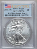 Modern Bullion Coins, 2011-(W) $1 Silver Eagle, First Strike MS70 PCGS. US Mint-SealedBox#11....