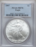 Modern Bullion Coins, 2007 $1 Silver Eagle MS70 PCGS. PCGS Population (603). NGC Census:(5160). Numismedia Wsl. Price for problem free NGC/PCGS...